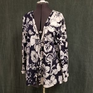 Chico's tropical print cardigan, size 3, XL